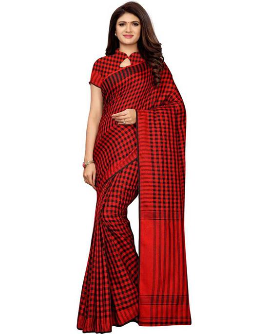 Chanderi Cotton Linen Blend Saree (Red)