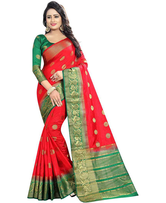 Self Design Red Kanjivaram Art Silk Saree