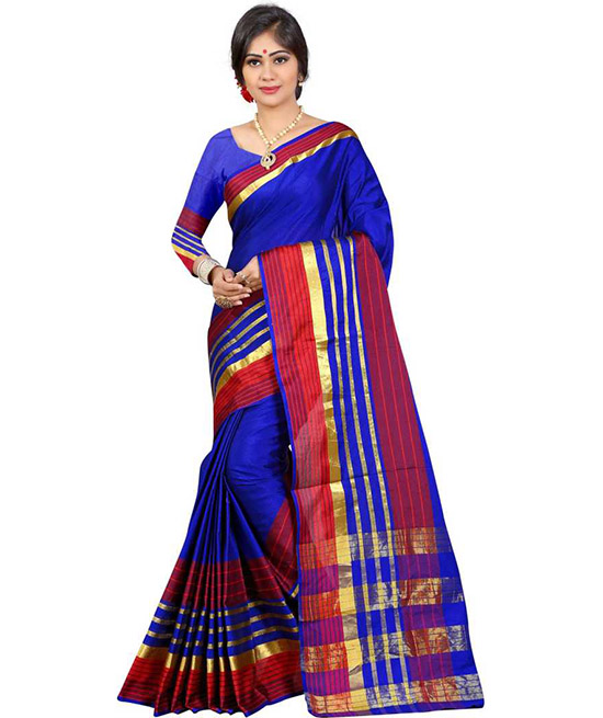 Striped Chanderi Art Silk Saree  (Multicolor)