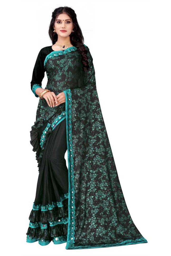 Applique Kanjivaram Lycra Blend Saree (Green)