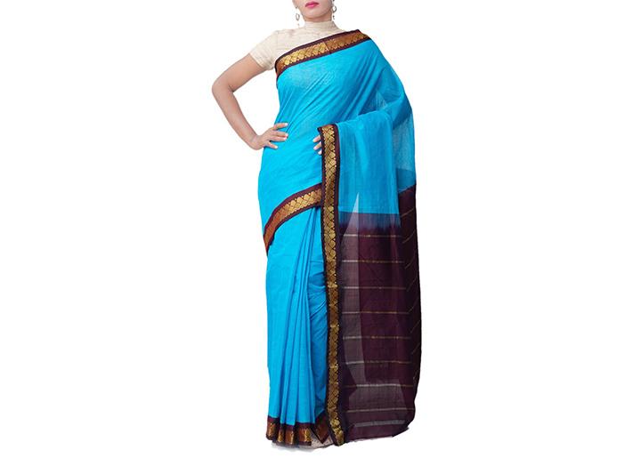Blue Pure Handloom Gadwal Cotton Saree