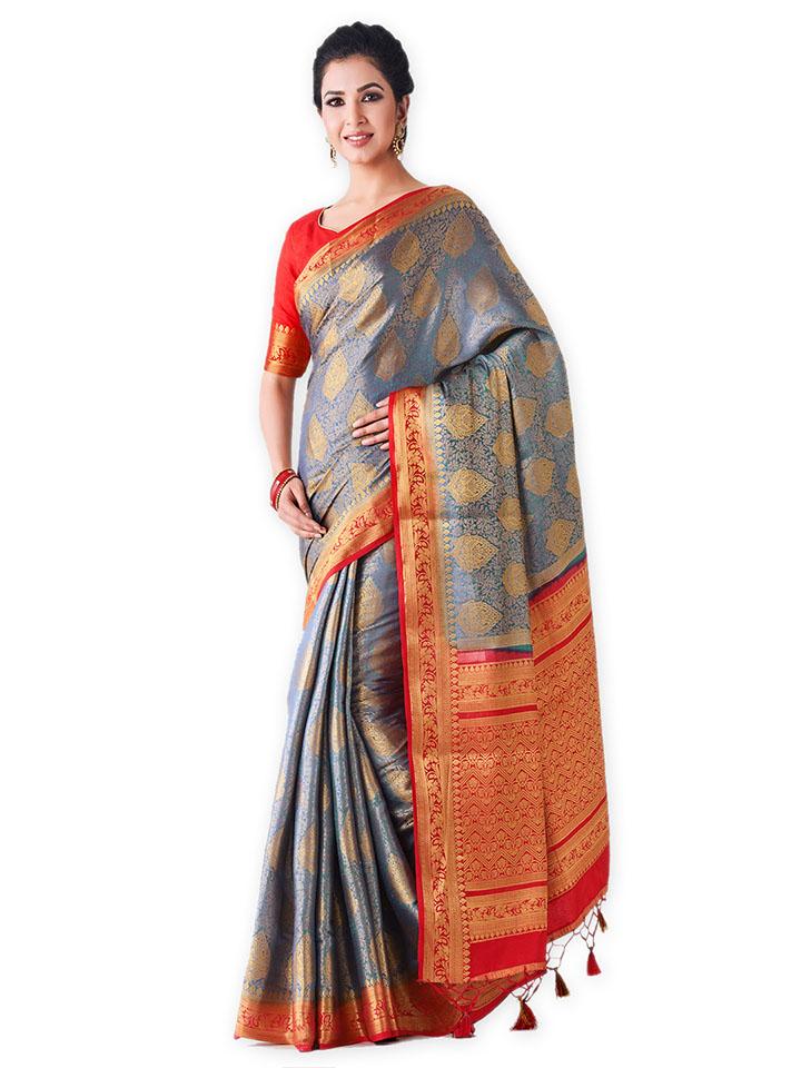 Blue & Red Art Silk Woven Design Kanjeevaram Saree