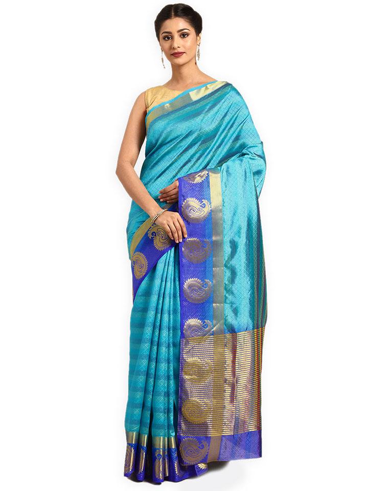 Blue Woven Design Art Silk Saree