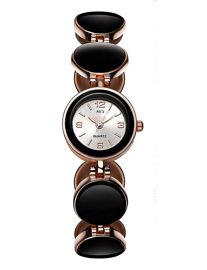 Bonjour Anlogue White Shiny Dial Black & Rose nGold Combination Bangle Colour Women Watch & Girls Watches