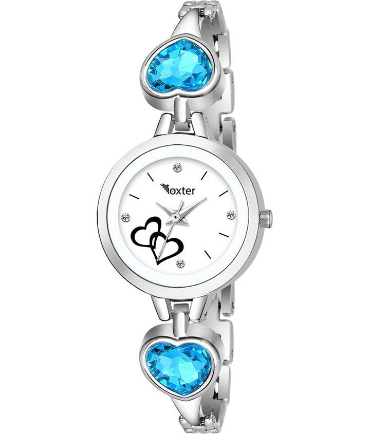 Bracelet Blue Stone Strap White Dial Analog Watch