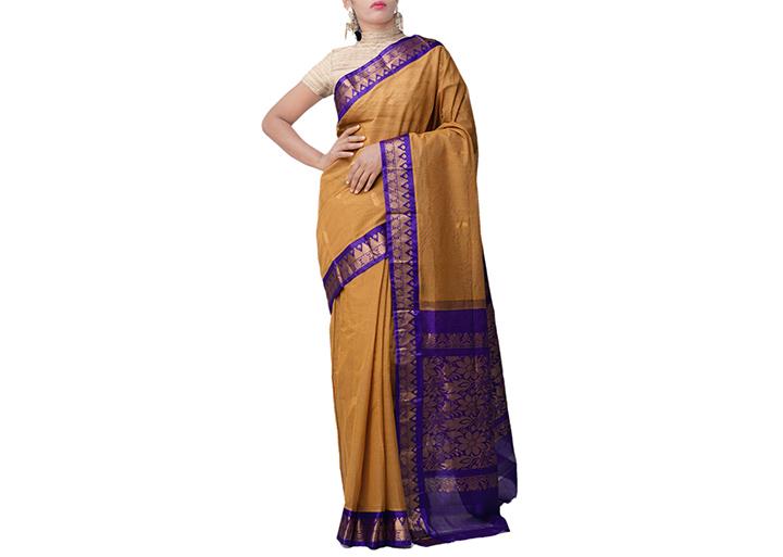 Brown Pure Handloom Gadwal Cotton Saree
