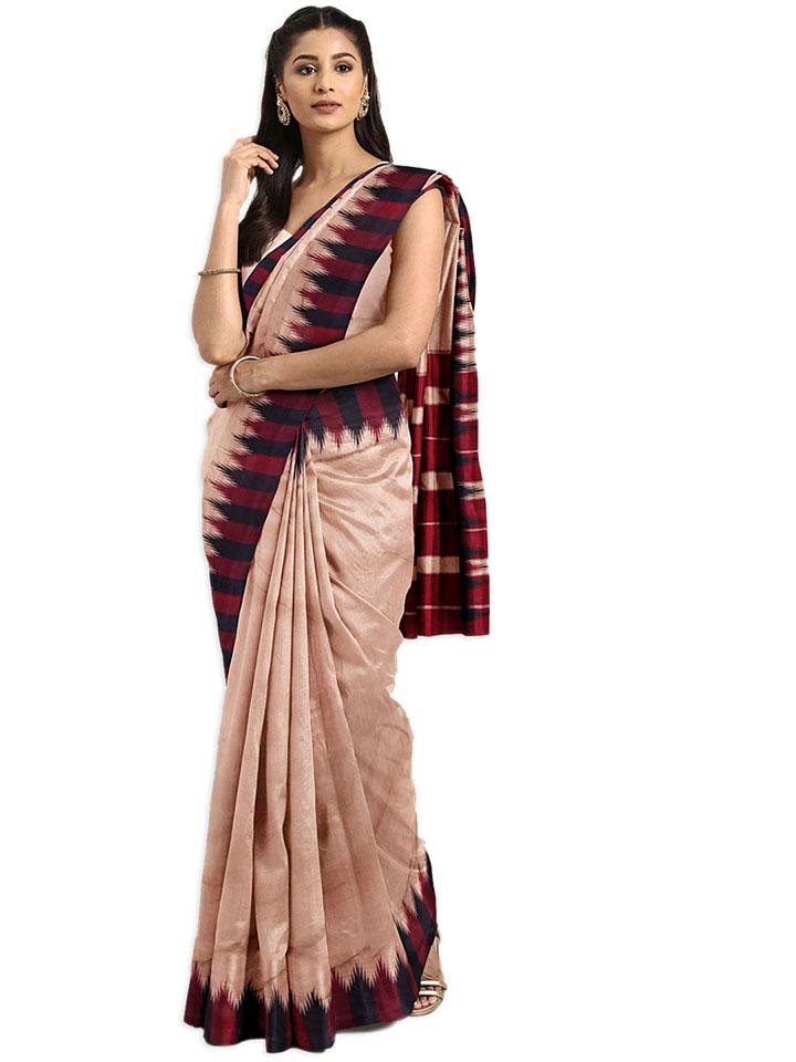 Brown Solid Art Silk Saree