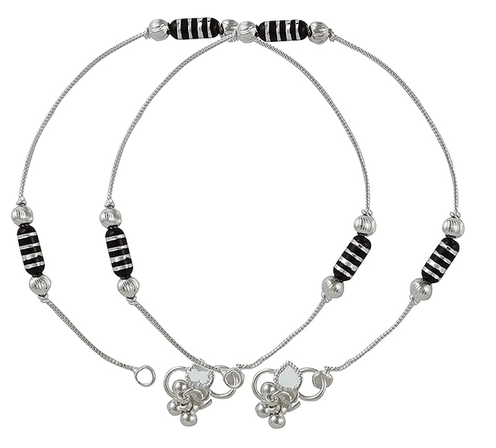 Charms Black Beaded Silver Plated Anklets for Girls & Women