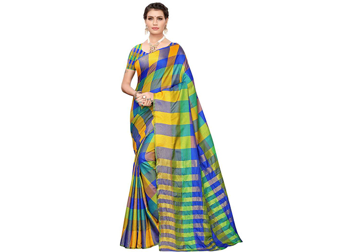 Checkered Chettinadu Cotton Blend Saree (Yellow)