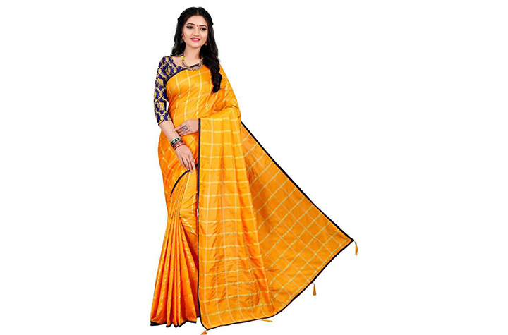Checkered Chettinadu Cotton Silk Saree (Yellow)