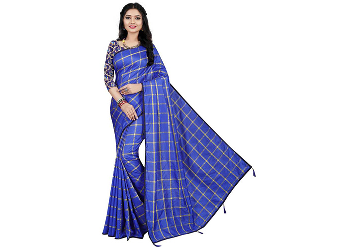 Checkered Chettinadu Cotton Silk Saree (Blue)