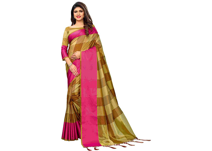 Checkered Chettinadu Cotton Silk Saree (Brown, Mustard)