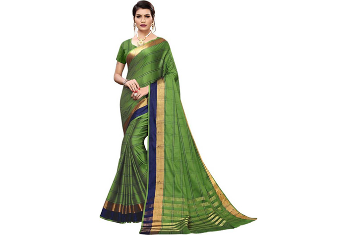Checkered Chettinadu Cotton Silk Saree (Green)