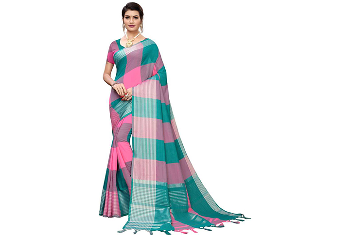 Checkered Chettinadu Cotton Silk Saree