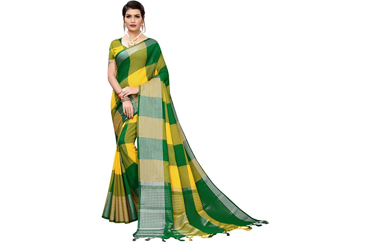 15. Checkered Chettinadu Cotton Silk Saree  (Green, Yellow)