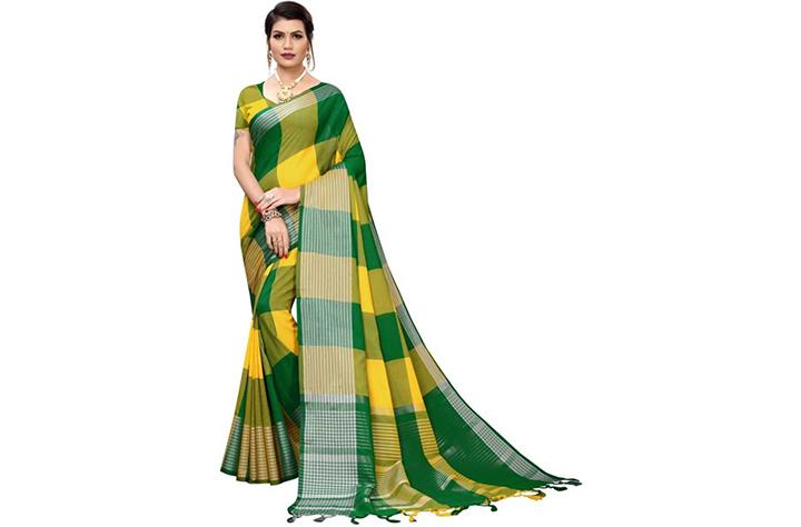 15. Checkered Chettinadu Cotton Silk Saree(Green, Yellow)