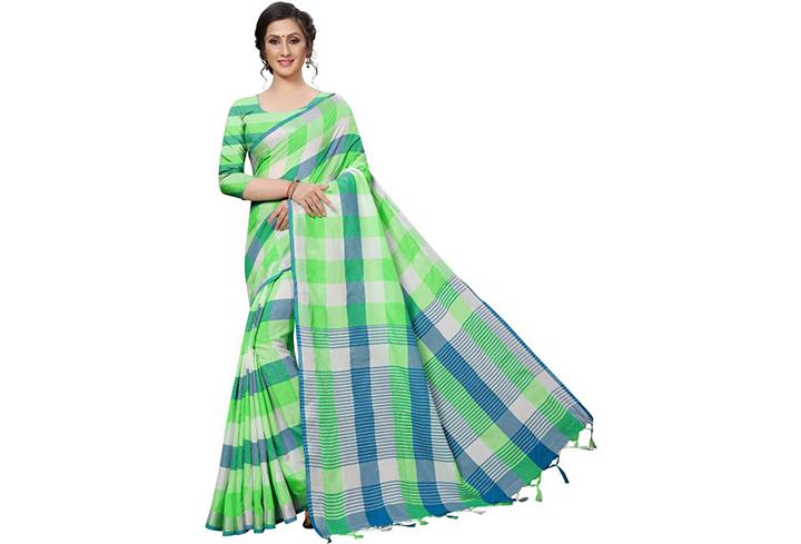 Checkered Chettinadu Cotton Silk Saree(Green)