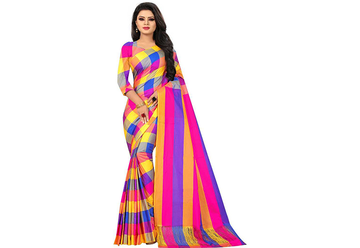 Checkered Chettinadu Cotton Silk Saree (Multicolor)