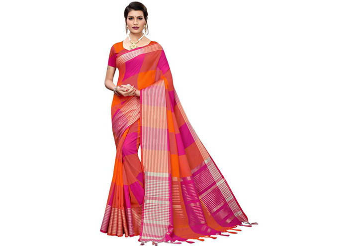 Checkered Chettinadu Cotton Silk Saree (Pink, Orange)