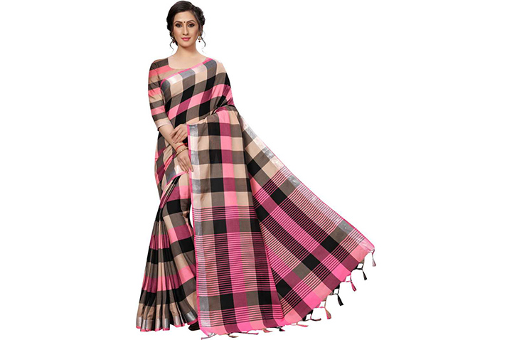 Checkered Chettinadu Poly Silk, Cotton Silk Saree (Beige)