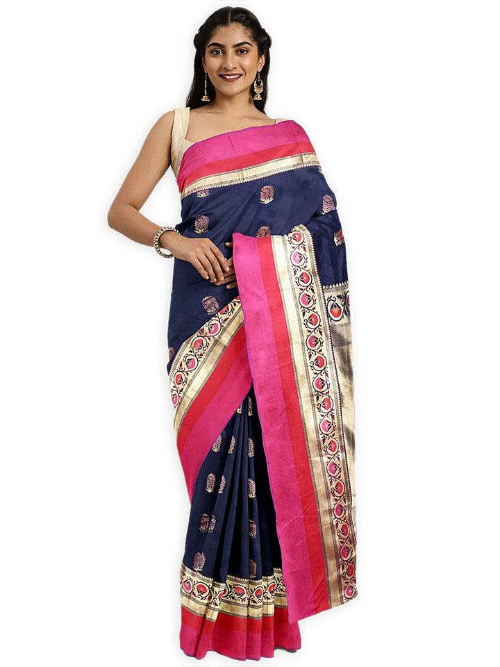 Classicate Navy Blue Woven Design Art Silk Saree