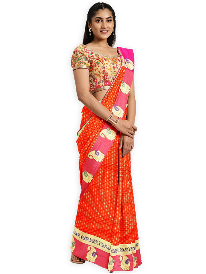 Classicate Orange Woven Design Art Silk Saree