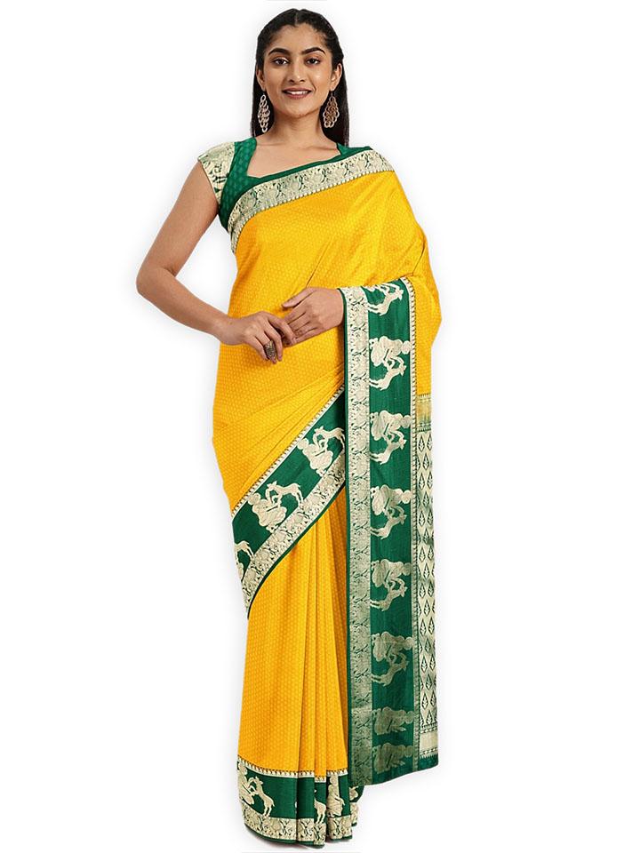 Classicate Yellow & Green Art Silk Woven Design Saree
