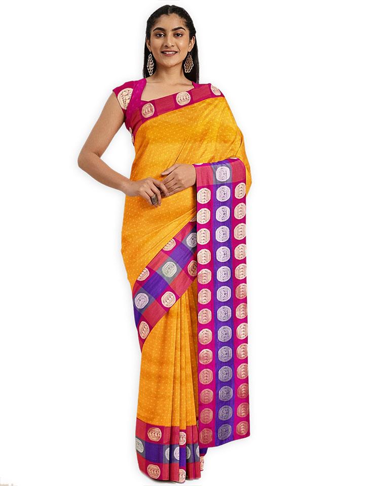 Classicate Yellow & Pink Art Silk Woven Design Saree