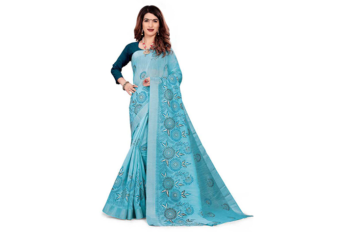Color Block Gadwal Cotton Blend Saree (Light Blue)