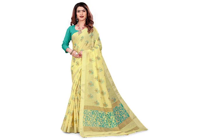 Color Block Gadwal Cotton Blend Saree (Yellow)