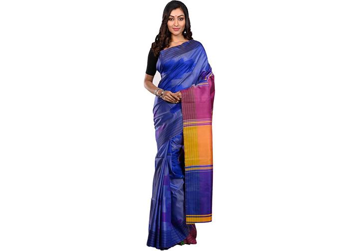 Color Block Gadwal Handloom Pure Silk Saree (Blue)
