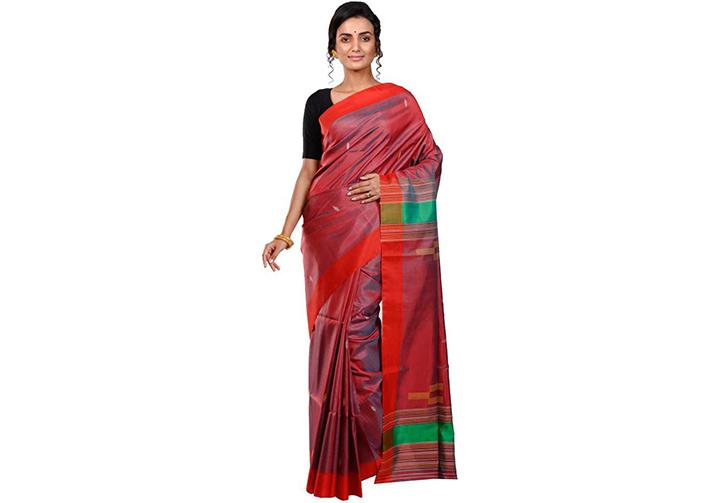 Color Block Gadwal Handloom Pure Silk Saree (Red)