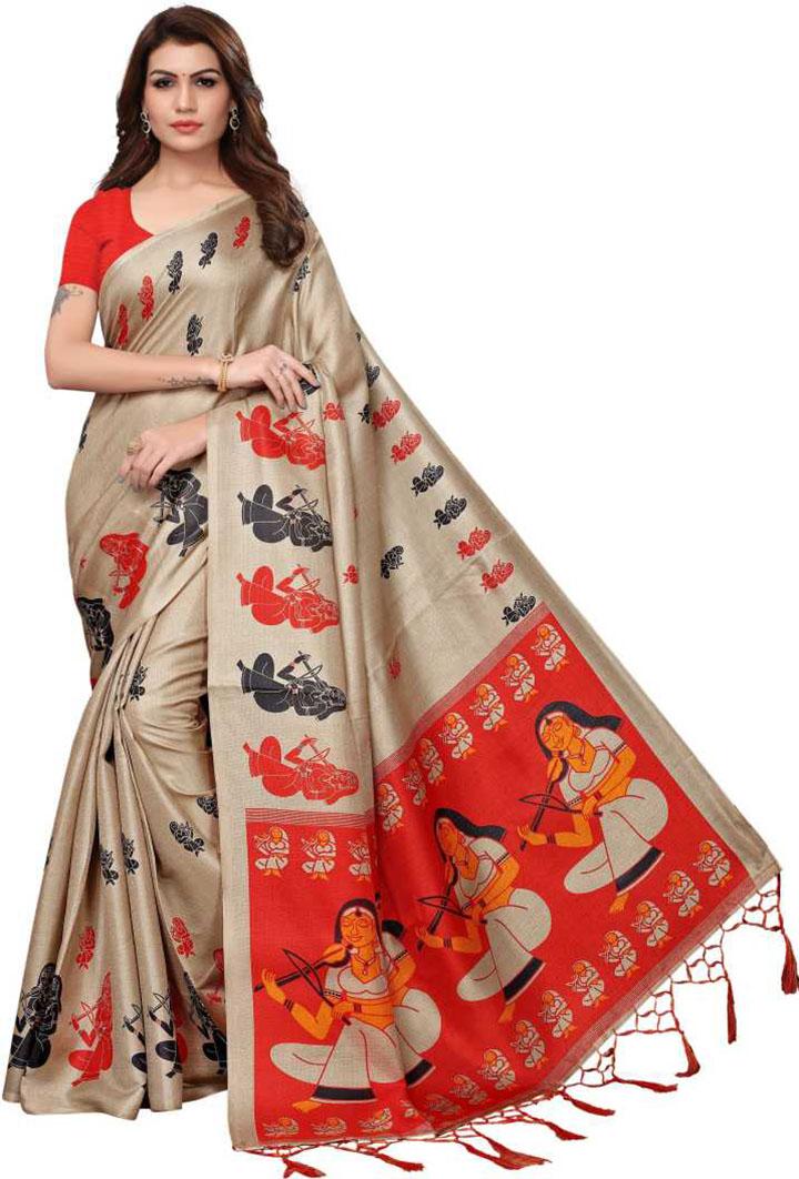 Digital Print Mysore Silk Blend, Art Silk Saree (Beige)