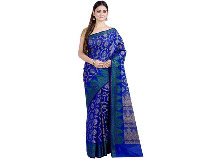 Embellished Gadwal Handloom Art Silk Sare (Blue)