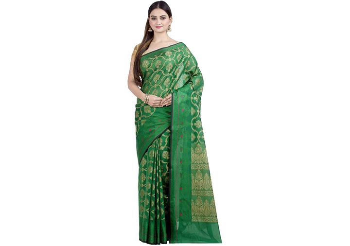 Embellished Gadwal Handloom Art Silk Saree (Dark Green)