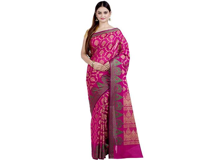 Embellished Gadwal Handloom Art Silk Saree (Magenta)