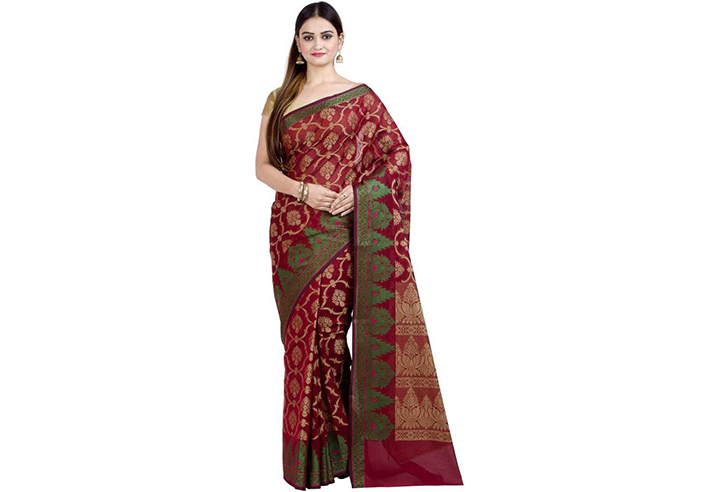 Embellished Gadwal Handloom Art Silk Saree (Red)