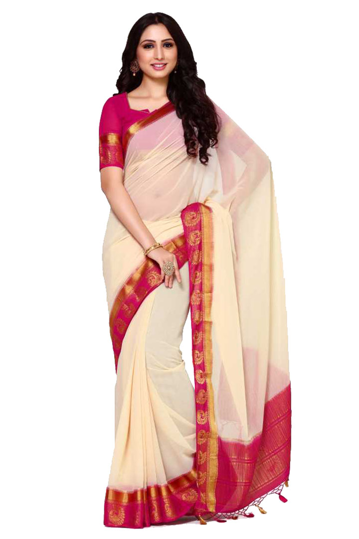 Embellished, Solid Bollywood Cotton Blend, Poly Silk Saree (Beige)
