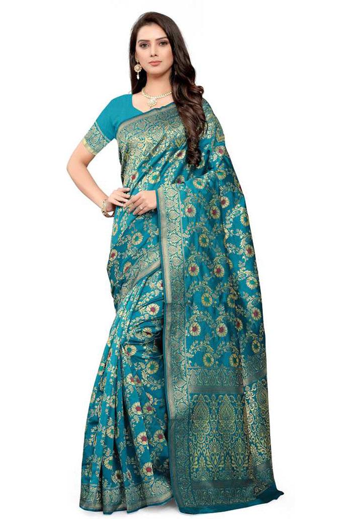 Embellished Kanjivaram Cotton Blend Saree (Green)