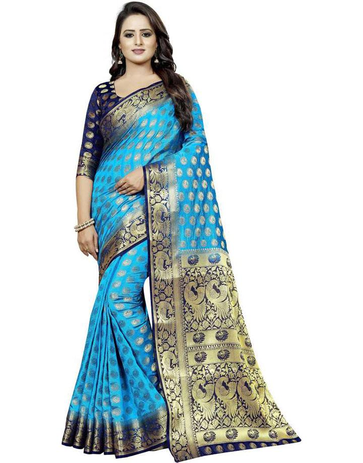 Embellished Kanjivaram Cotton Silk Saree (Blue)