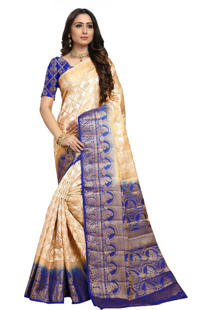 Embellished Kanjivaram Cotton Silk Saree (Beige)