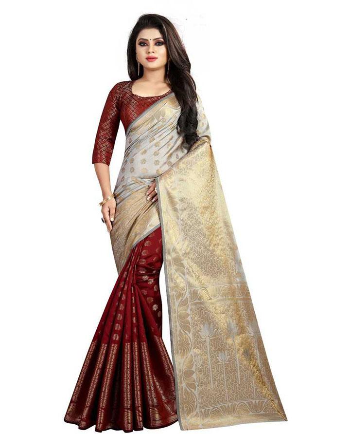 Embellished Kanjivaram Cotton Silk Saree (Grey)