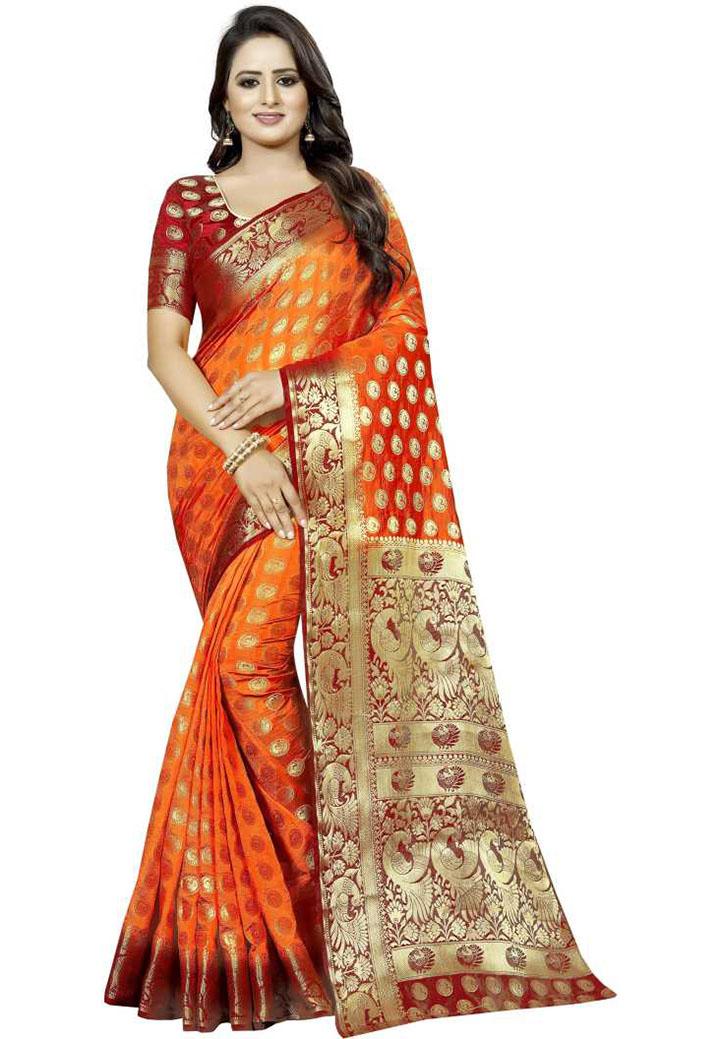 Embellished Kanjivaram Cotton Silk Saree (Orange)