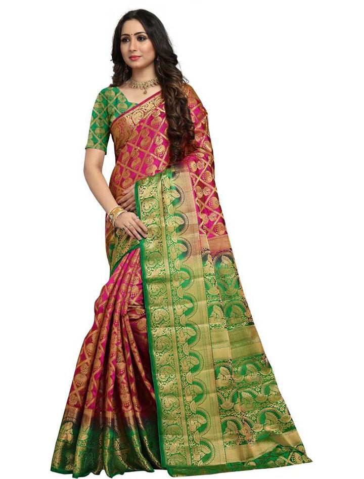 Embellished Kanjivaram Cotton Silk Saree (Pink)