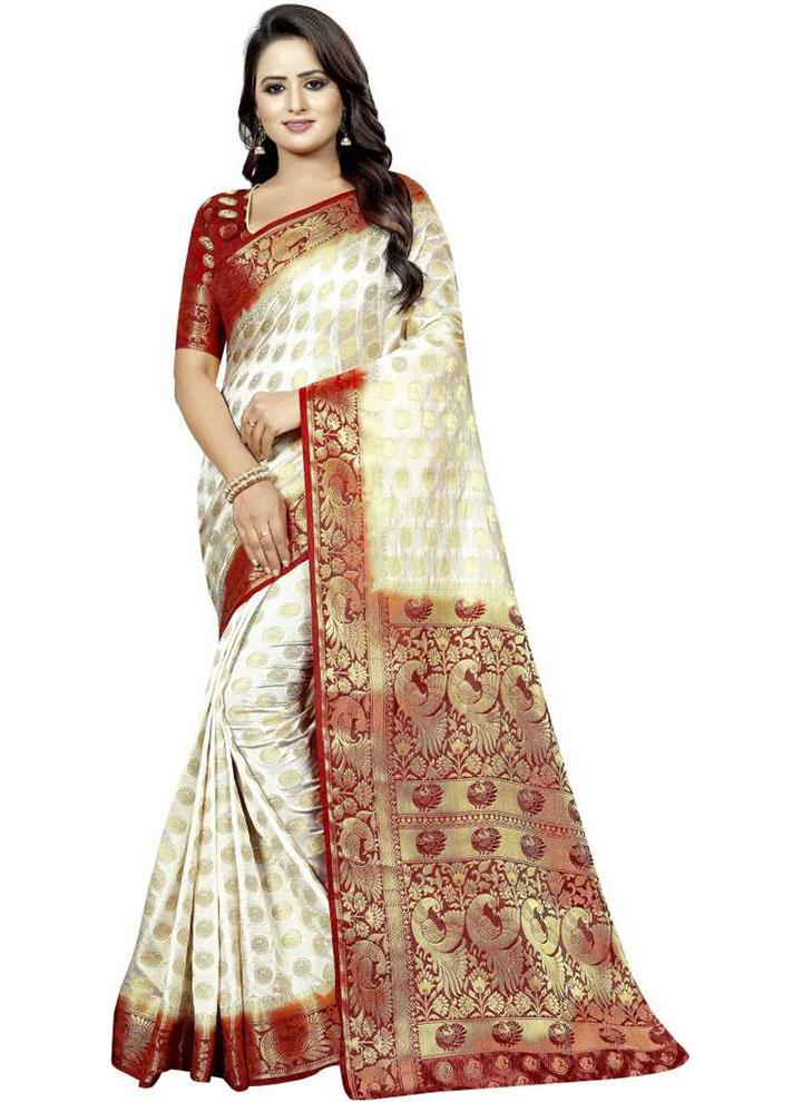 Embellished Kanjivaram Cotton Silk Saree (White)