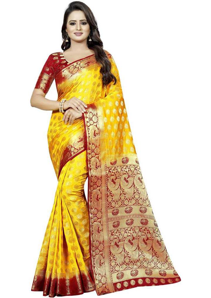 Embellished Kanjivaram Cotton Silk Saree (Yellow)