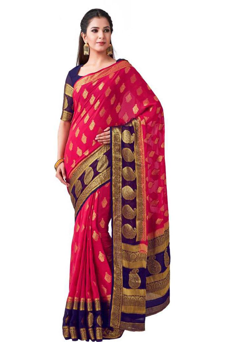 Embellished Kanjivaram Poly Chiffon Saree (Pink)