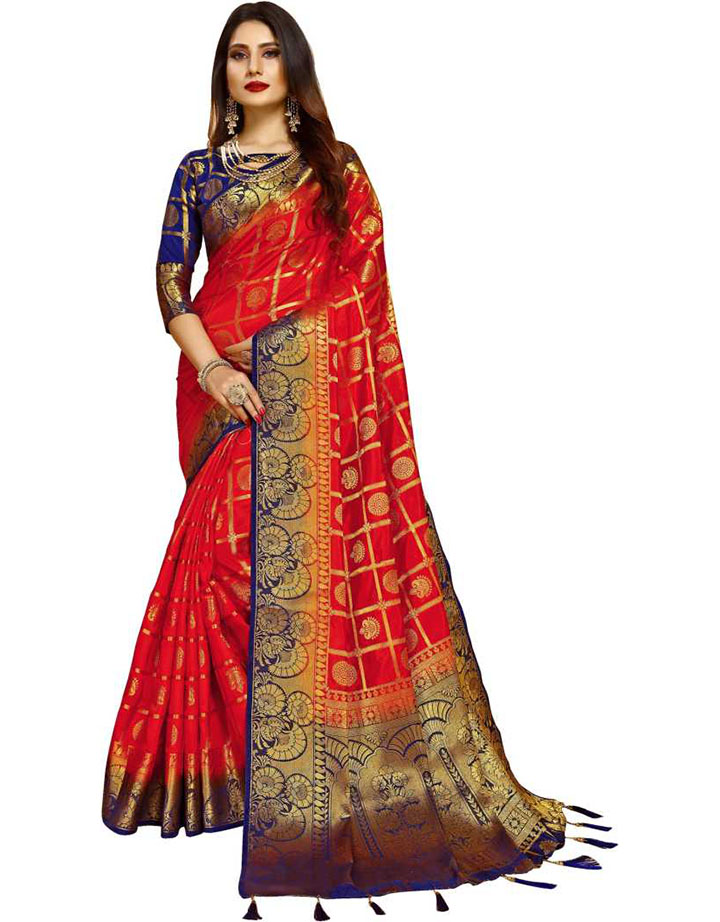 Embellished Kanjivaram Poly Silk Saree (Red)