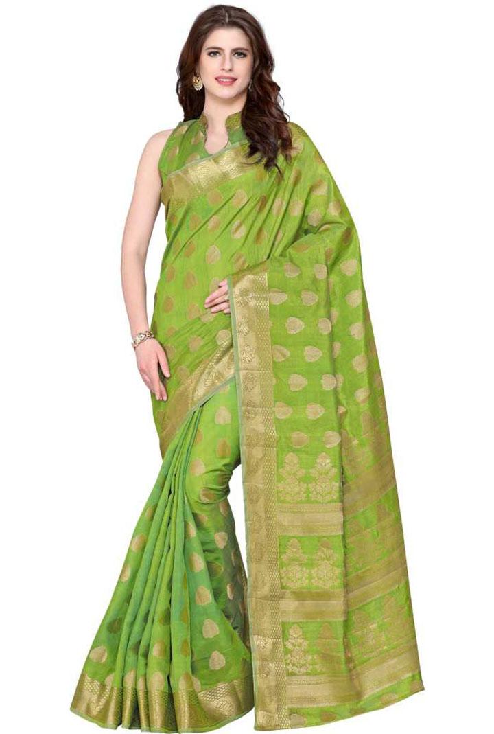 Embellished Kanjivaram Tussar Silk Saree (Green)