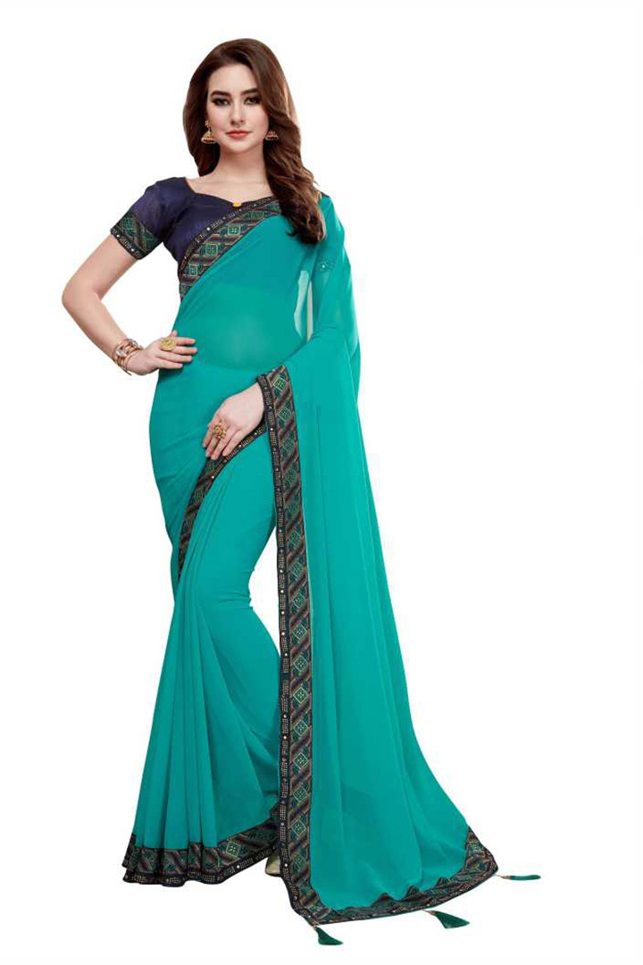 Embellished, Solid Fashion Poly Georgette Saree (Light Blue)